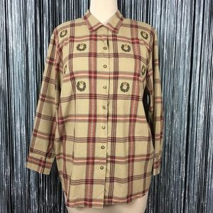 NWT Karen Scott Wreath Tan Plaid Button Down Shirt